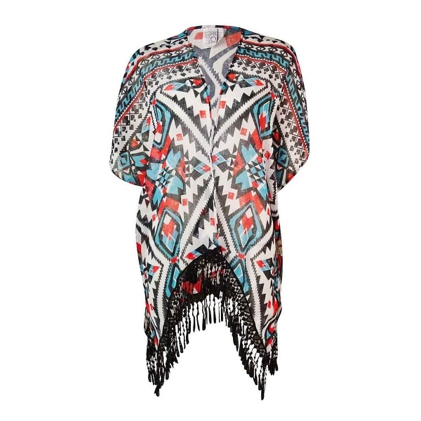 Becca by Rebecca Virtue Women's Tribal Fringed Kimono Swim Cover - multi