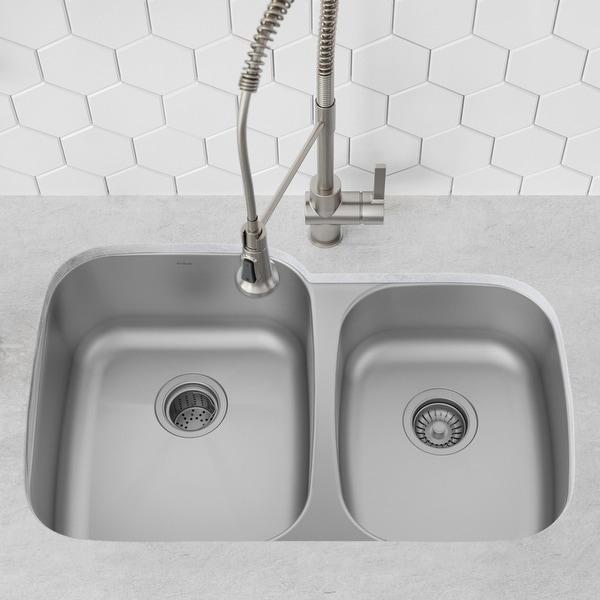 KRAUS Premier Stainless Steel 35 inch 2-Bowl Undermount Kitchen Sink. Opens flyout.