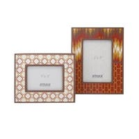 """Set of 2 Fiery Red Yellow and Brown Geometric Patterned Picture Photo Frames 5"""" x 7"""""""