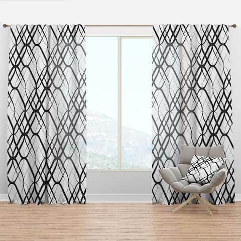 Designart 'Monochrome Geometric Pattern III' Mid-Century Modern Curtain Panel