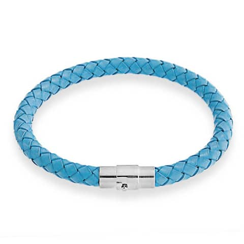 Pink Blue Woven Braided Faux Leather Bangle Bracelet Stainless Steel