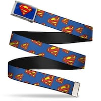 Superman Fcg Blue  Chrome Super Shield Diagonal Royal Blue Red Webbing Web Belt