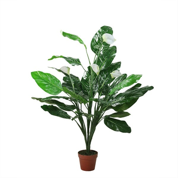 """47.5"""" Potted Green and White Artificial Tropical Peace Lily Spathe Plant - N/A"""
