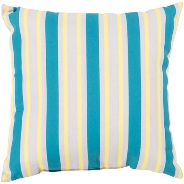 "18"" Aqua, Gray and Butter Yellow Striped Square Decorative Throw Pillow"