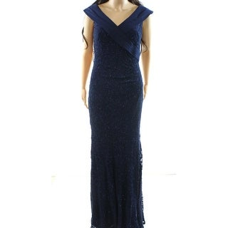 Decode 1.8 NEW Navy Blue Womens Size 8 Shimmer Lace Criss-Cross Gown