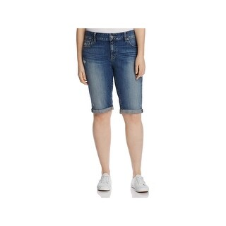 Lucky Brand Womens Plus Ginger Bermuda Shorts Stretch Mid-Rise - navy