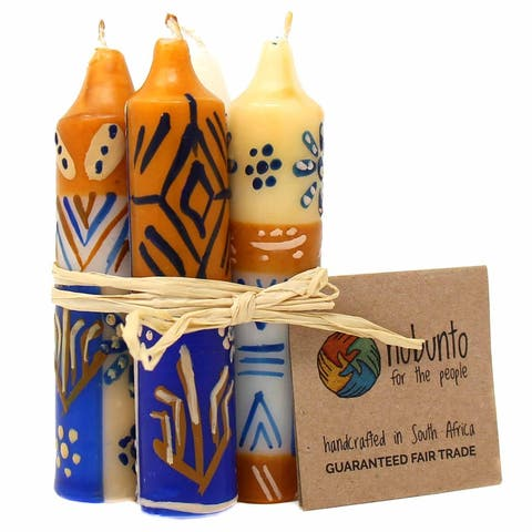 """Hand-Painted Unscented 4"""" Dinner or Shabbat Candles, Set of 4 (South Africa)"""