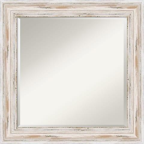 Bathroom Vanity Mirror, Alexandria White Wash Wood - 25 x 25-inch