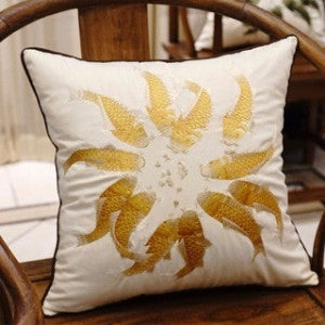 "Luxury Yellow Fish Embroidered Pillow 18""X18"""