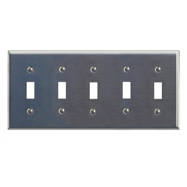 Switchplate Brushed Stainless Steel Five Toggle
