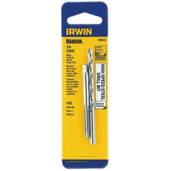 Irwin Tools 80221 Hanson High Carbon Steel 10-32 NF Tap & #21 Drill Bit Set