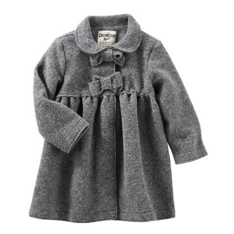 OshKosh B'gosh Baby Girls' Cozy Bow Coat, Gray, 6 Months