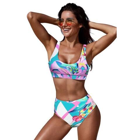 Cali Chic Women's Two Piece Swimsuit Celebrity Pink U-neckline High Waist Tropical Bikini