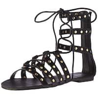Topline Women's Allycat Gladiator Sandal, Black, Size 8.0