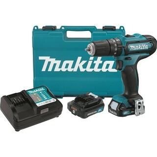 """Makita 12V Max CXT Lithium-Ion Cordless 3/8"""" Hammer Driver-Drill Kit - teal"""