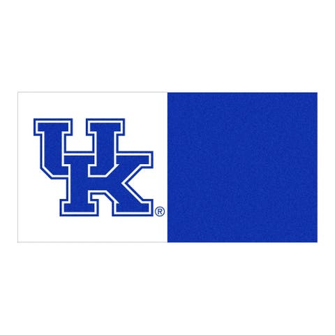 """18"""" Blue and White NCAA Kentucky Wildcats Square Carpet Tiles - N/A"""