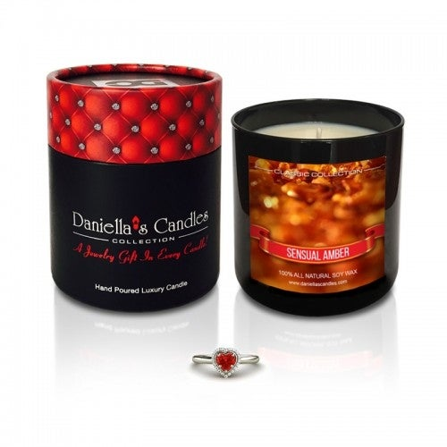 Daniella's Candles Sensual Amber Jewelry Candle, Ring Size 7