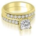1.40 cttw. 14K Yellow Gold Cathedral Princess Cut Diamond Bridal Set - Thumbnail 0
