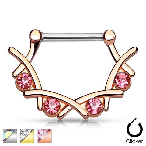 Crystal Filigree Surgical Steel Nipple Clicker - 14GA (Sold Ind.)