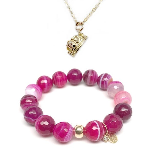 "Fuchsia Agate 7"" Bracelet & Crown Gold Charm Necklace Set"
