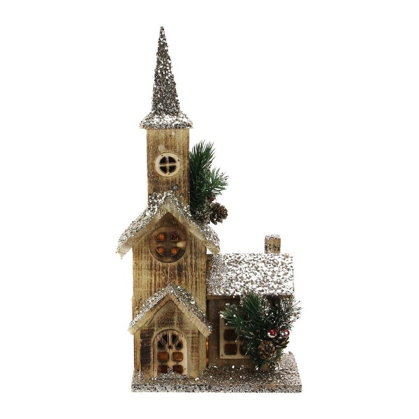 """17"""" LED Lighted Country Rustic Brown Wooden Church Christmas Decoration"""