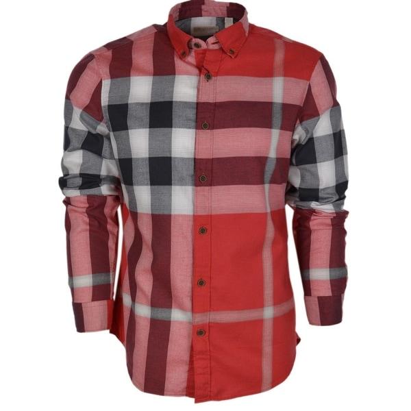 a22c0d8c5 Burberry Brit Men  x27 s Fred Red Nova Check Cotton Long Sleeve Shirt XL