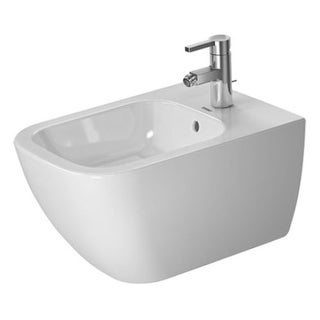 Duravit 2258150000 Happy D.2 Wall Mounted Rectangular Horizontal Spray Bidet with Single Faucet Hole Drilling