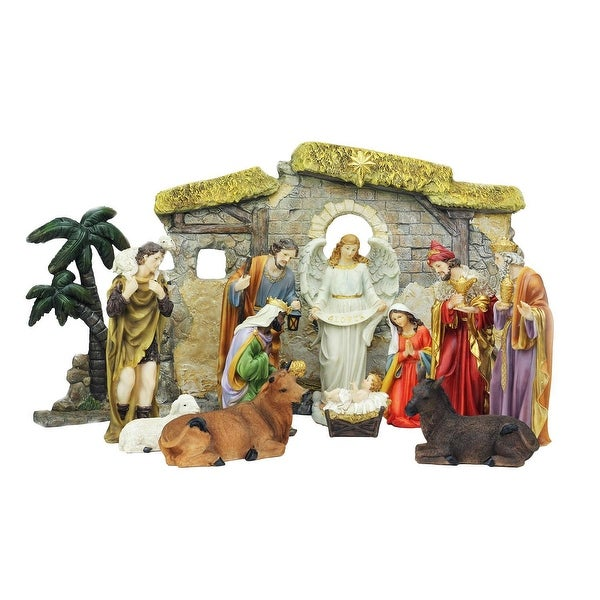 """13-Piece Multi-Color Traditional Religious Christmas Nativity Set with Stable 23.25"""" - multi"""