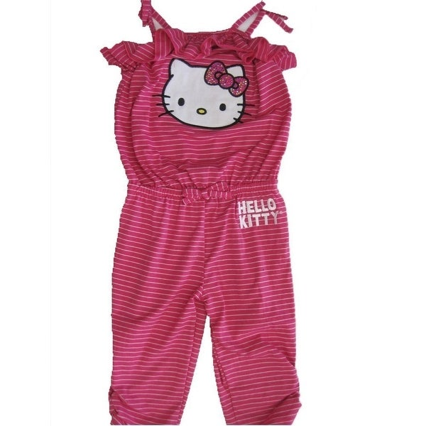 9b5b2fd11769 Shop Hello Kitty Little Girls Pink White Thin Striped Ruffle Pants Romper 4-6X  - Free Shipping On Orders Over  45 - Overstock - 18171330