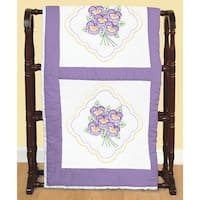 "Stamped White Quilt Blocks 18""X18"" 6/Pkg-Pansies"