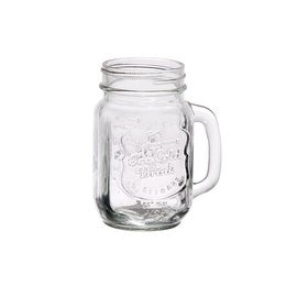 Palais Glassware Mason Jar Tumbler Mug with Handle - 16 Ounces - Set of 4 ('Ice Cold Drink' Embossed)