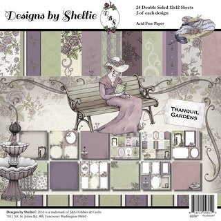 "Designs By Shellie Cardstock 12""X12"" 24/Pkg-Tranquil Gardens, 12 Designs/2 Each"