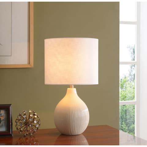 "Suzanna Casual Ceramic Cream 3 Way Accent Lamp - 12"" x 22"""