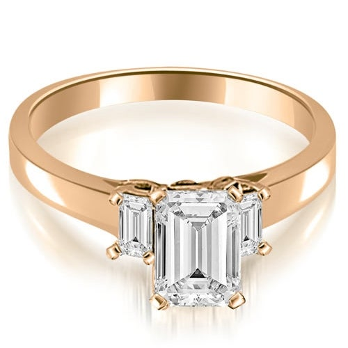 1.40 cttw. 14K Rose Gold Emerald Cut Three Stone Diamond Engagement Ring