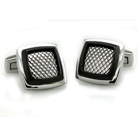 Two-Tone Stainless Steel Men's Mesh Cuff Links
