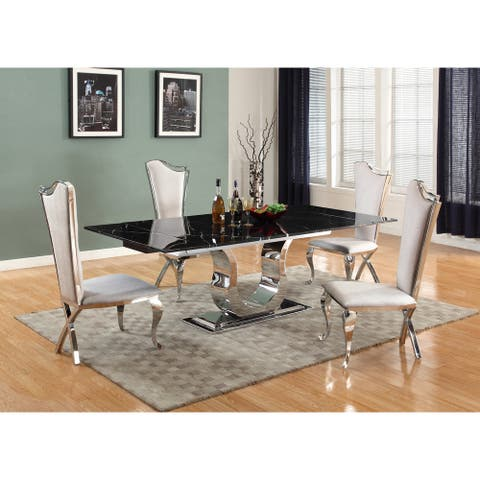 Somette Nikki Dining Table with Black Marquina Marble Top