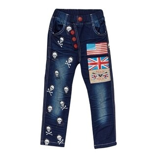 Rock'nStyle Boys Dark Blue American Flag Skull Denim Pants