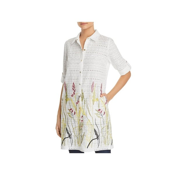 8980f73f1a701e Shop T Tahari Womens Sabina Tunic Top Embroidered Eyelet - Free ...