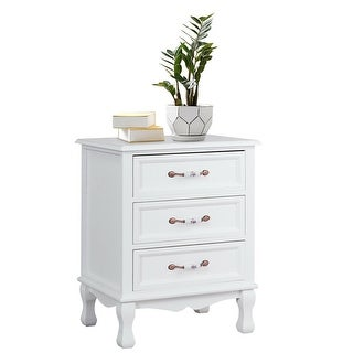 Gymax 3 Drawers Nightstand Storage Wood End Table Side Bedside White