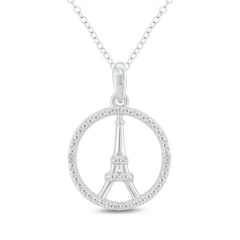 Cali Trove 14KT White Gold Diamond Accent Eiffel Tower Fashion Pendant