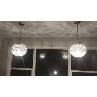"Georgina 12"" Crystal/Metal LED Chandelier Pendant, Antique Brass by JONATHAN  Y"