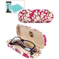 JAVOedge Leaves Pattern Fabric Clamshell Style Eyeglass Case with Bonus Mircofiber Glasses Cleaning Cloth - Pink