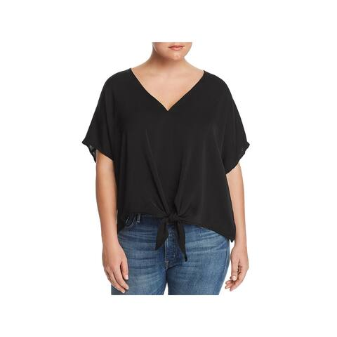 Lucky Brand Womens Plus Pullover Top Tie Front Dolman Sleeves