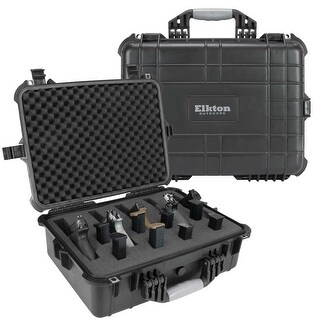 Elkton Outdoors Hard Firearm Case: Fully Customizable Firearm Case: Holds 5 Firearms & 10 Magazines:Crush Resistant & Waterproof