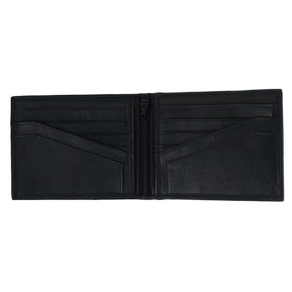 Black Brown Mens Soft Leather Zippered Pocket Bifold Wallet W//Snap /& Outside ID