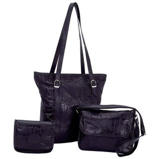Embassy Solid Genuine Leather 3pc Purse Set with Crocodile Embossing