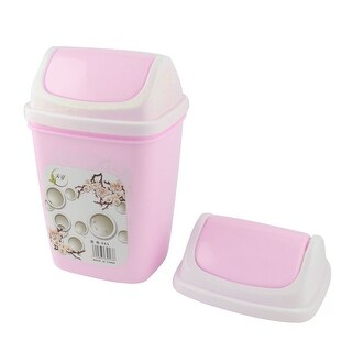 Home Office Plastic Desktop Garbage Rubbish Waste Holder Container Case Bin Pink