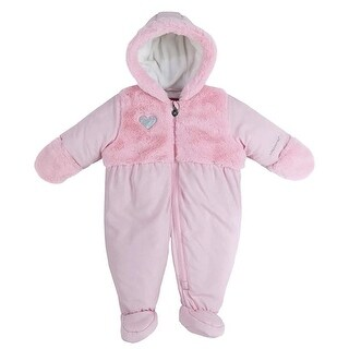London Fog Girls 0-9 Months Heart Fur Pram Snowsuit - Pink - 6-9 Months