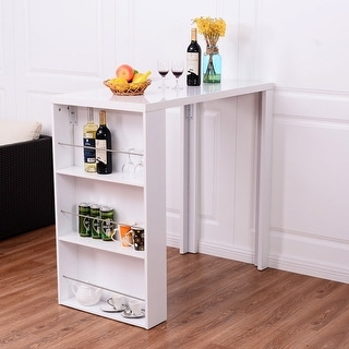 costway modern bar table storage shelves pub bistro counter kitchen furniture white - Kitchen Bar Table