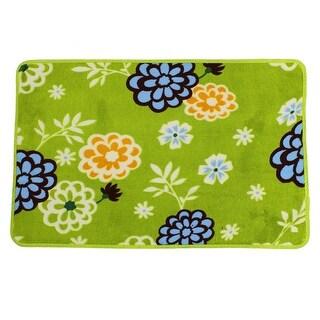 "Green Floral Print Kitchen Floor Mat Area Rug Carpet 27.6"" x 17.7"""